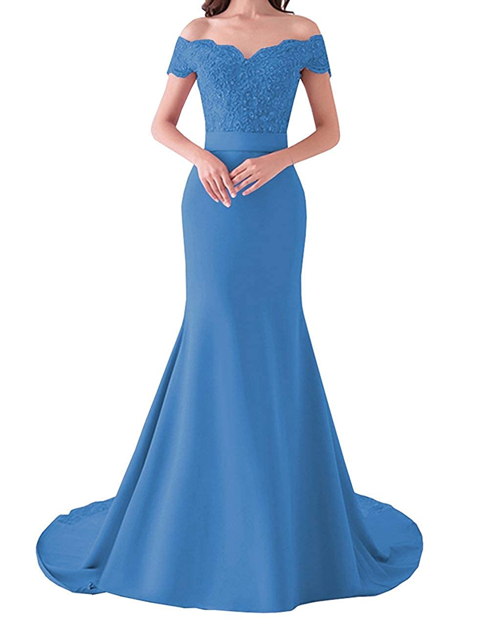 bluee 20KyleBird Women's Sexy Off The Shoulder Lace Mermaid Bridesmaid Dresses Sweetheart Satin Prom Evening Gowns Plus Size