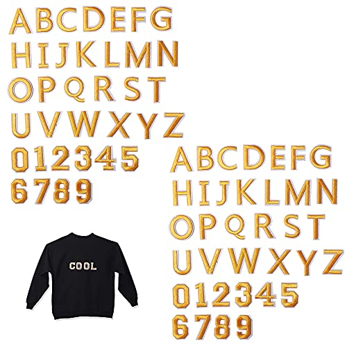 Harsgs 72 PCS Iron on Letters Numbers Patches, Embroidered Patches Letters A-Z Numbers 0-9 Applique for Clothes, Dress, Hat, Jeans, DIY Accessories, Yellow