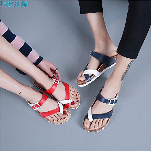 piatto cork flip di 42 sandali dimensioni spiaggia clip bianco studente floreali clip pantofole di ladies' antiscivolo piedi toe estate di grandi Set Versione flop XIAMUO coreana qIH6ff