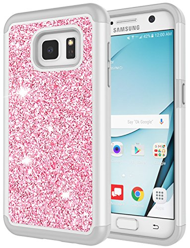Galaxy S7 Case for Girls, S7 Bling Case, Jeylly Glitter Luxury Crystal Dual Layer Shockproof Hard PC Soft TPU Inner Protector Case Cover for Samsung Galaxy S7 S VII G930 - Rose Gold