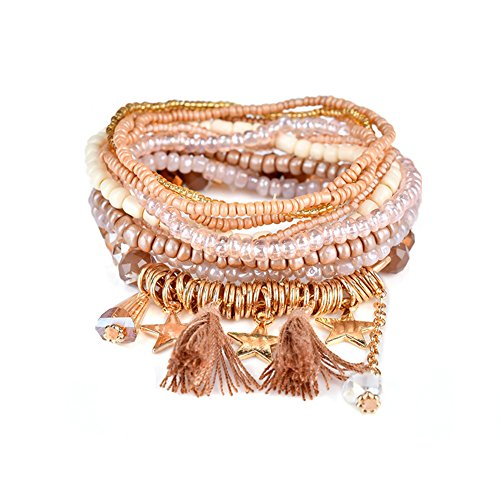 Multilayer Bohemian Brown Beaded Bracelet Crystal Pendant Charm Stretch Beach Stack Bangle Bracelet Set 7 Colors for Women Jewelry (Pink Beaded Charm)