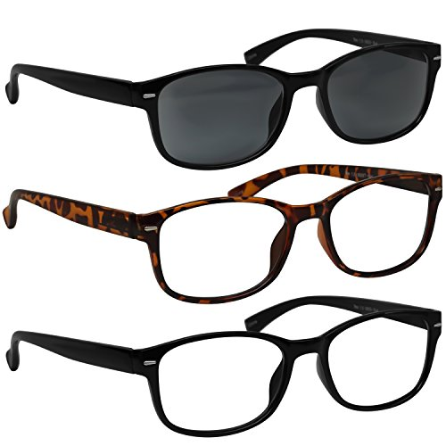 Reading Glasses Black & Tortoise and Sun Black Reader Always Have a Timeless Look, Crystal Clear Vision, Comfort Fit with Sure-Flex Spring Hinge Arms & Dura-Tight Screws 100% Guarantee +2.50 from TruVision Readers