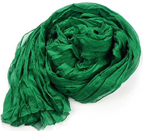 Men Women Candy Pure Colors Light Weight Oblong Large Crinkle Scarf/ Shawl / Wrap (Green)