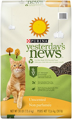 Purina Yesterday's News Unscented Non-Clumping Cat Litter - (1) 30 lb. Bag (Recycled Paper Pellets)