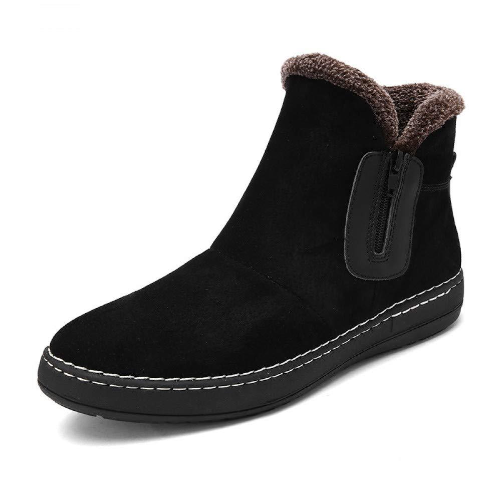 FHCGMX Wildleder warme Winterstiefel männer knöchel Schnee Stiefel männer reißverschluss Kurze Flache Stiefel Mode Futter männer Schuhe