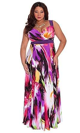 IGIGI Women's Plus Size Tropical Beauty Maxi Dress 12 at