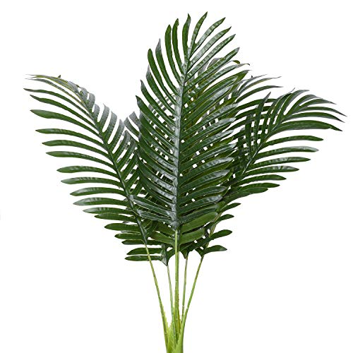 Arrangements Flower Green (6pcs Artificial Palm Plants Leaves Imitation Leaf Artificial Plants Green Greenery Plants Faux Fake Tropical Large Palm Tree Leaves for Home Kitchen Party Flowers Arrangement Wedding Decorations)