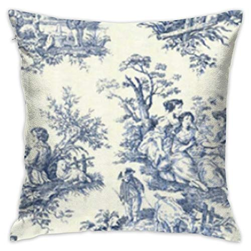 (MERCASO Toile De Jouy Wallpaper Pillow Case Decorative Sofa Bed Case Cover Twin Sides Square Pillowcase)