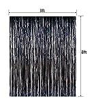 Fecedy 2pcs 3ft x 8.3ft Black Metallic Tinsel Foil