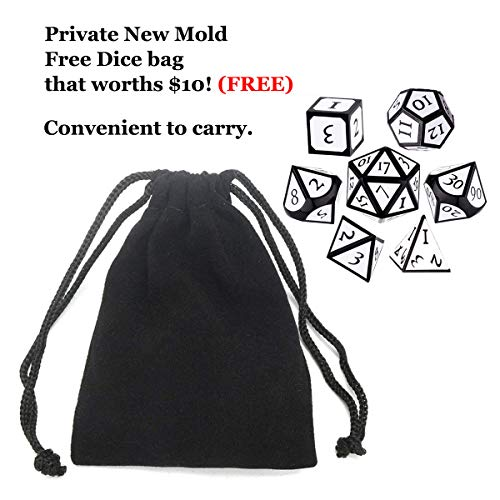 UONUOT 7pcs DND Metal Dice Set with Black Pouches D&D TabletopGames Embossed Heavy Polyhedral Metal Dice for Dungeons and Dragons Role Playing Games RPGs/DND/Set,Math Teaching(Black White)