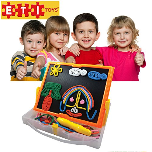 ETI Toys - Lace and Trace with Board for Boys and Girls 58 Piece set for endless fun! Great for Learning, Developing and Having Fun. Draw your design Today!
