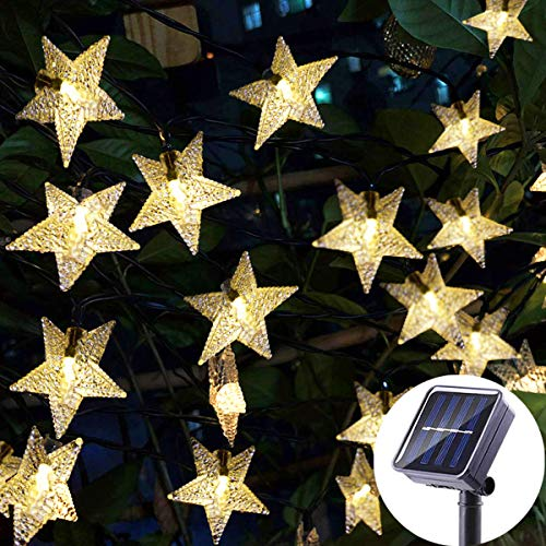(Viewpick Outdoor Solar Garden Star String Lights Solar Powered Twinkling Fairy Lights, 30ft 50 LED Christmas String Lights for Backyard, Patio, Gate, Tree, Birthday Party, Summer Decoration,Warm White)