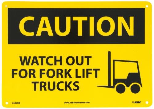 Lift Truck Forks (NMC C637RB OSHA Sign, Legend