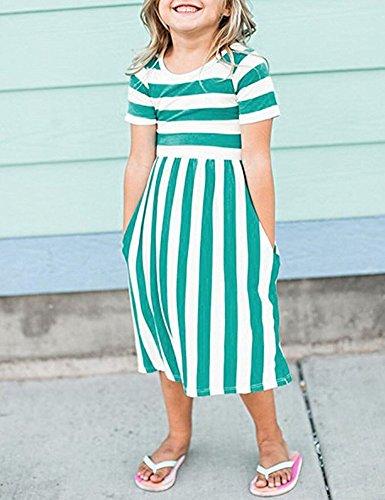 Yancorp Girl Dress Short Sleeve Casual Midi Stripe Dresses with Pockets Kids Summer Beach Fashion Wear 6T-11T (Green, L(8T-9T)) by Yancorp (Image #2)