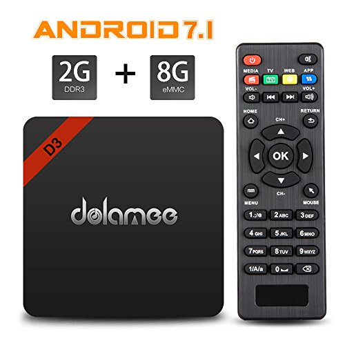 4K Android TV Box , Dolamee D3 Android 7.1 3D UHD Media Player 2GB RAM 8GB ROM Amlogic Boxes Support 2.4G WIFI and BT4.0