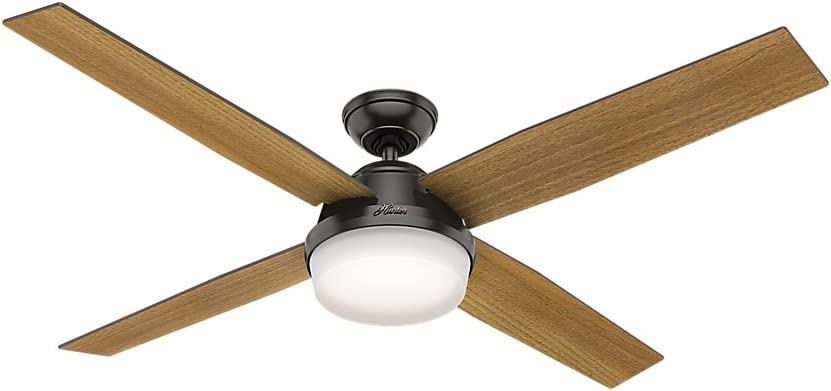 """Hunter Dempsey Indoor Ceiling Fan with LED Light and Remote Control, 60"""", Noble Bronze"""