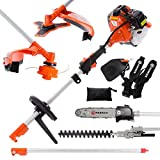52cc Multi Function 5 in 1 Garden Tool - Brush Cutter, String Trimmer, Chainsaw, Hedge Trimmer &...