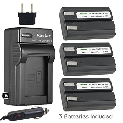 (Kastar Battery (3-Pack) and Charger Kit for Nikon EN-EL1, ENEL1, Minota NP-800 and Nikon Cooipix 4300 4500 4800 5400 5700 775 8700 880 885 995 CoolpixE880 and Konica Minota DG-5W Dimage A200 Cameras)