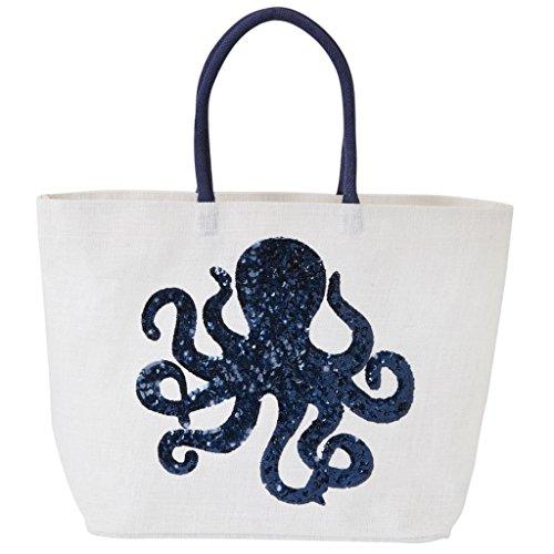 Mud Pie Sea Dazzle Tote - Octopus (White)