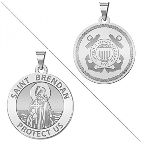 Saint Brendan Doubledside COAST GUARD Religious Medal 1 Inch Solid 14K White Gold (Medal White Religious Gold 14k)