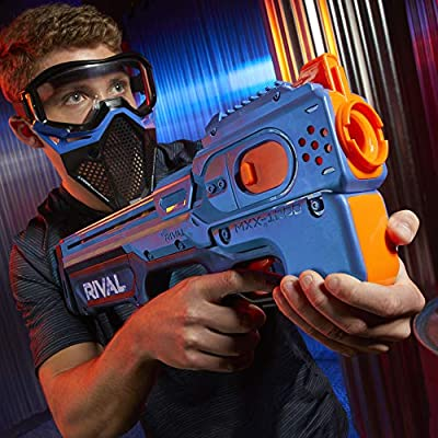 NERF Rival Charger MXX-1200 Motorized Blaster -- 12-Round Capacity, 100 FPS Velocity -- Includes 24 Official Rival Rounds -- Team Blue: Toys & Games