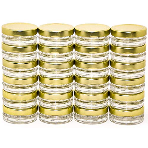 Small Mini Glass Jars With Tin Lids - 24 pack x 0.5 oz - All Purpose Empty Storage Jars