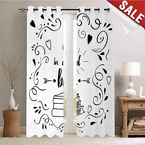 Book Customized Curtains Get Lost in a Good Book Printed Quote with Hand Drawn Floral Pattern with Books Arrow Blackout Window Curtain W96 x L108 Inch Black White