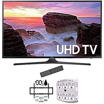 "Samsung 55"" 4K Ultra HD Smart LED TV 2017 Model (UN55MU6300FXZA) with Deco Mount Slim Flat Wall Mount Ultimate Bundle Kit for 32-60 inch TVs & Stanley 6-Outlet Surge Adapter with Night Light"