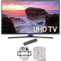 Samsung 55 4K Ultra HD Smart LED TV 2017 Model (UN55MU6300FXZA) with Deco Mount Slim Flat Wall Mount Ultimate Bundle Kit for 32-60 inch TVs & Stanley 6-Outlet Surge Adapter with Night Light