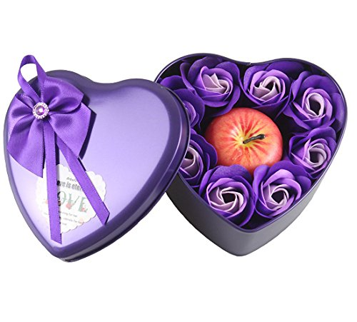 Heart Shaped Iron Box with Soap Flower and Candle Apple as a Birthday Gift Christmas Present for Kids Girlfriend - Shaped Flowers Heart