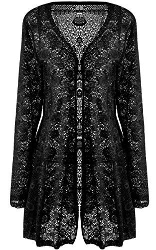 Meaneor Women's Casual Long Sleeve Embroidery Lace Crochet Chiffon Cardigan Sweater Black 3XL