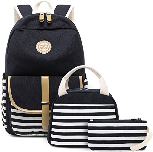 BLUBOON Canvas Bookbags School Backpack Laptop Schoolbag for Teens Girls High School (Stripe Black-8893 New) ()