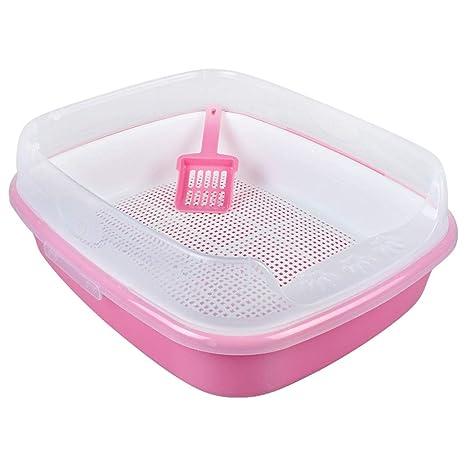 Cajas De Arena para Gatos, Baño De Mascotas Caja Cara Alta Filtrar Cuadrícula Llevar Pala
