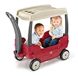 Step2 Canopy Wagon for Toddler - Durable Push Ride On Car with Foldable Long Handle, Storage and Seat Belt