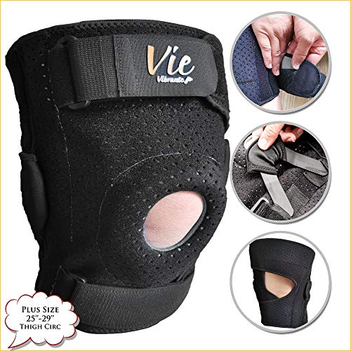 Plus Size Knee Brace Exclusive – Hinged Side Closing Design for Fast Easy Wearing. Designed for Plus Size Men and Women, Provides Great Stabilization, Support, Non Slip & Non Bulky – Vievibrante 3