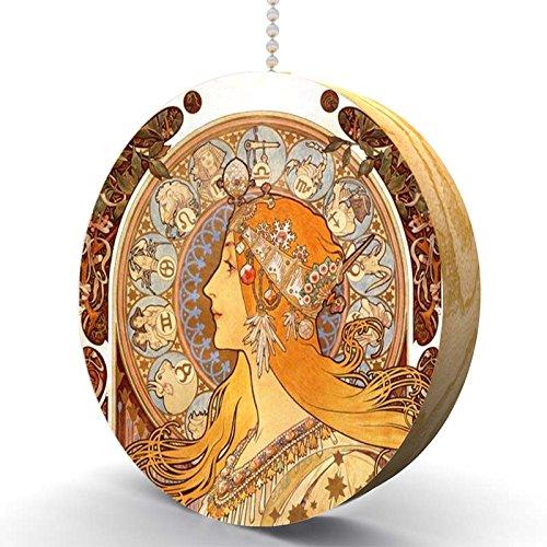 Art Nouveau Cabinet - Mucha Zodiac Hardwood Oak Fan / Light Pull