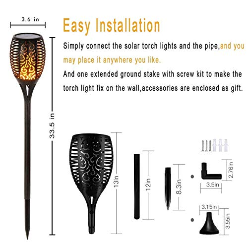 Otdair Solar Torch Lights Waterproof Flickering Flame Solar Torches Dancing Flames Landscape Decoration Lighting Dusk to Dawn Outdoor Security Path Light for Garden Patio Driveway (4 Packs) by Otdair (Image #1)