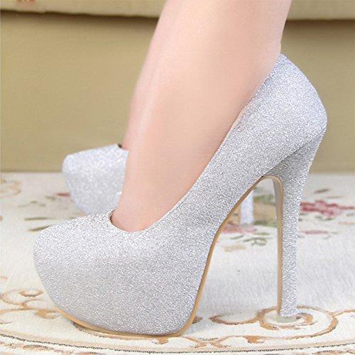 GTVERNH-Zapatos de tacon alto zapatos de mujer zapatos de boda zapatos de Corea clubes nocturnos princesas zapatos de tacon alto zapatos zapatos de banquete profesionales Plateado