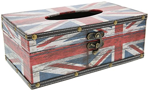 Union Toilet Paper Holder (Tissue Box Cover Holder - British Flag - Red White and Blue - 10 x 6 x 4 inches)