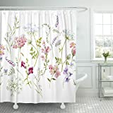 Pink and Purple Shower Curtain Emvency Shower Curtain Watercolor Floral Pattern Delicate Flower Wildflowers Pink Tansy Pansies White Queen Anne's Lace Retro Waterproof Polyester Fabric 72 x 72 inches Set with Hooks
