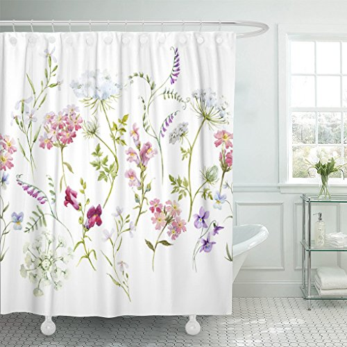 Emvency Shower Curtain Watercolor Floral Pattern Delicate Flower Wildflowers Pink Tansy Pansies White Queen Anne's Lace Retro Waterproof Polyester Fabric 72 x 72 inches Set with Hooks
