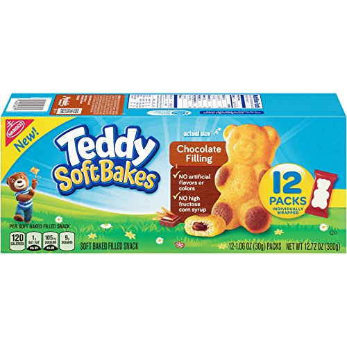 Teddy Soft Bakes with Filling, Chocolate, 12 Count (Pack of 4) (Teddy Bear Chocolate)