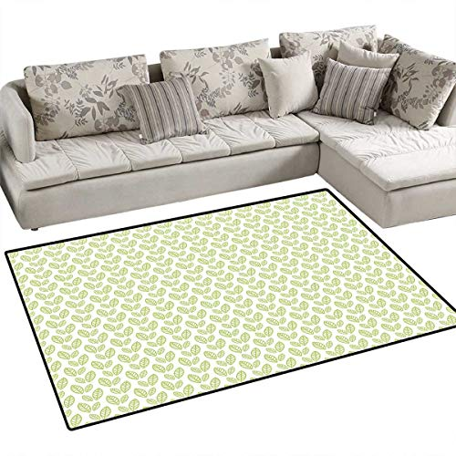 Green Leaf Area Rugs for Bedroom Simple Organic Pattern with Abstract Leaves Ecology Environment Theme Door Mats for Inside Non Slip Backing 55