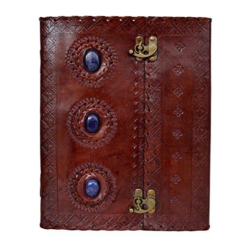 Handmade New Genuine Royal Blue Lapis Lazuli 3 Gemstone Leather Journal 2 Clasp Lock Side Stitching Diary & Notebook