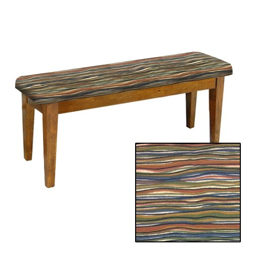 Shaker Design - Oak Dining Bench with a Padded Seat Cushion Featuring Your Favorite Novelty Themed Fabric (Southwest Wavy) by The Furniture Cove