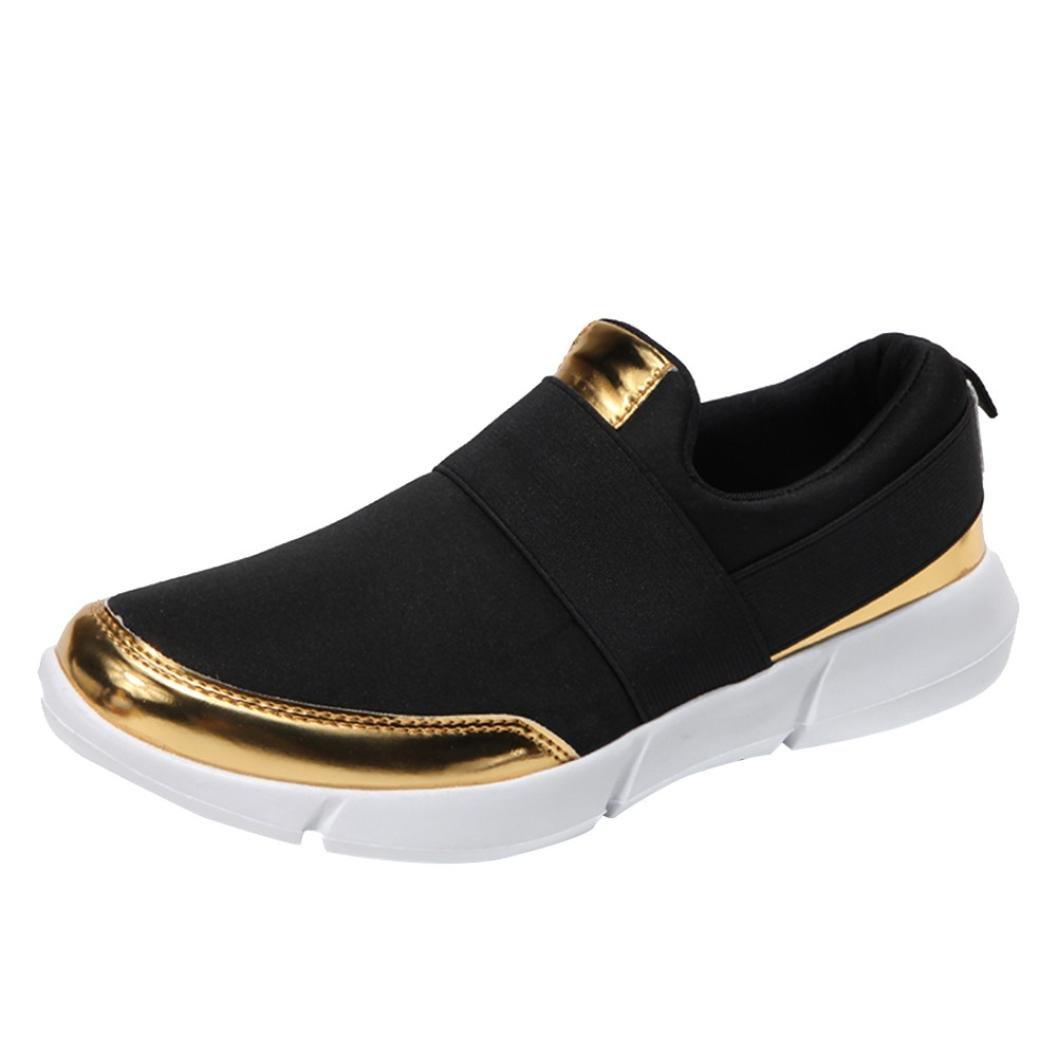 Lazzboy Damen Mesh Casual Faulenzer Atmungsaktive Flache Schuhe Weiche Laufschuhe Turnschuhe  37 EU|Schwarz
