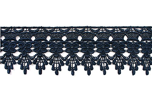 ed Floral Scalloped Venice Lace Trim Victorian Guipure Sewing Supplies By Yard (Navy) (Embroidered Lace Trim)