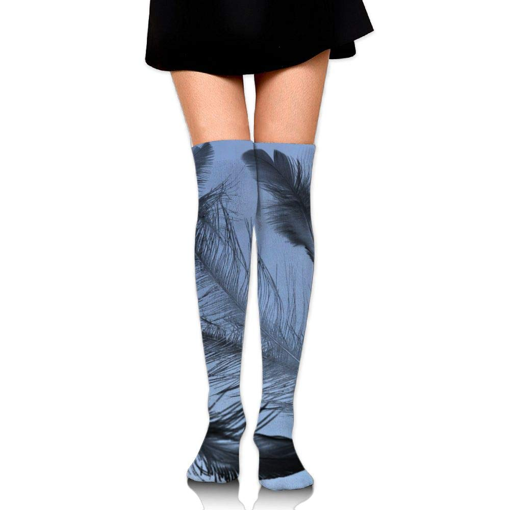 High Elasticity Girl Cotton Knee High Socks Uniform Black Bird Feathers Women Tube Socks