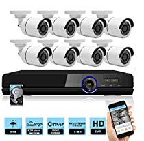 8 Channel 1080P 5 in 1 DVR 4 HD 1080P Night Vision Indoor/Outdoor CCTV Surveillance Bullet Camera AHD Home Security DVR Camera System Including 2TB HDD