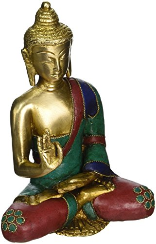 AapnoCraft Thai Blessing/Abhaya Buddha Statue Brass Handmade Shakyamuni Buddha Sculpture Bodhi With Unique Coral & Gemstone Work by AapnoCraft